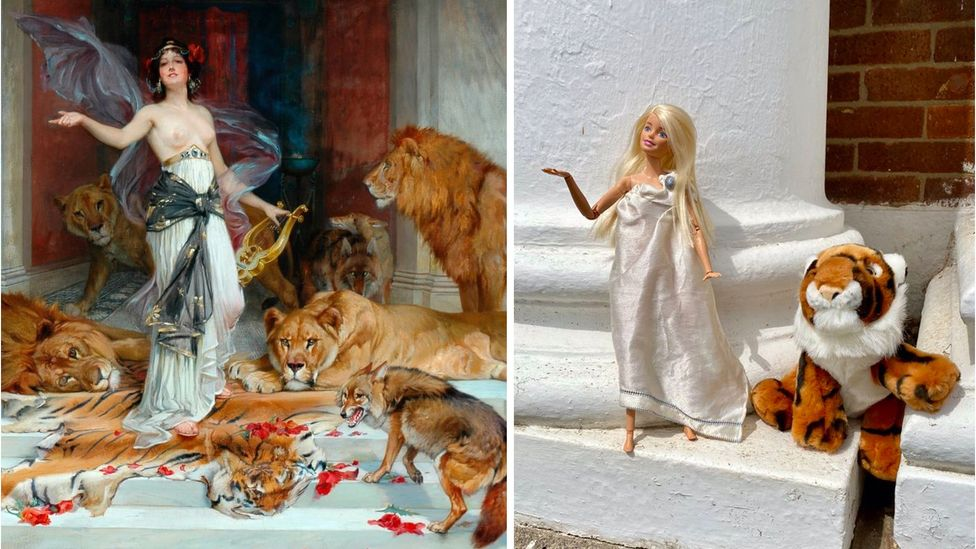 ArtActivistBarbie poses with a toy tiger in a parody of the 1889 painting Circe by Wright Barker, showing a topless woman surrounded by lions (Credit: Sarah Williamson/Twitter)