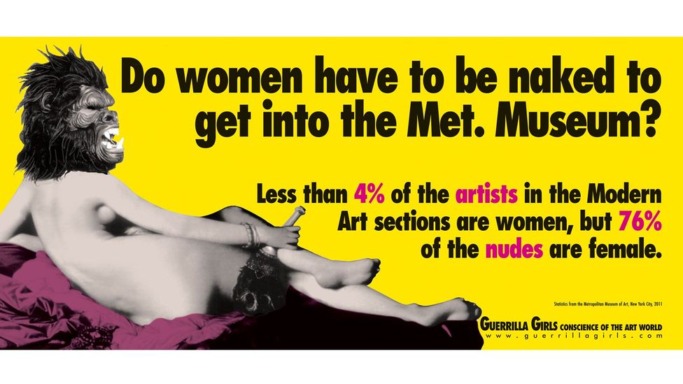In the 1980s, feminist art activists Guerilla Girls famously asked 'Do women have to be naked to get into the Met Museum?' (Credit: Guerilla Girls)