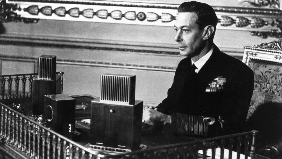 King George VI found it difficult to give public speeches due to his stammer and underwent speech therapy (Credit: BBC)
