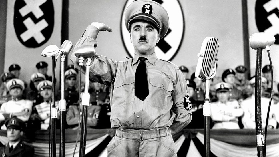 The history of comic representations of Hitler stretches back to 1940's The Great Dictator, starring Charlie Chaplin as thinly-veiled Führer figure Adenoid Hynke (Credit: Alamy)