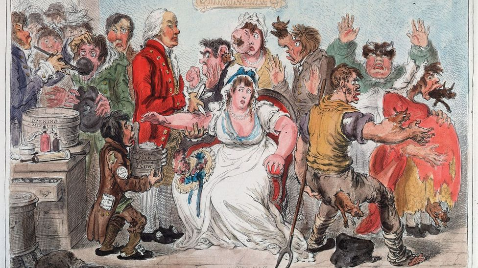 Gillray cartoon on cowpox vaccine (Credit: Getty Images)