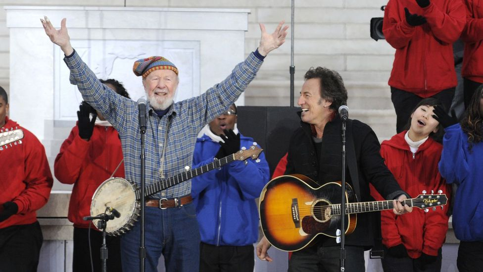 Pete Seeger and Bruce Springsteen sang This Land is Your Land at President Obama's inauguration in 2009 (Credit: Getty Images)