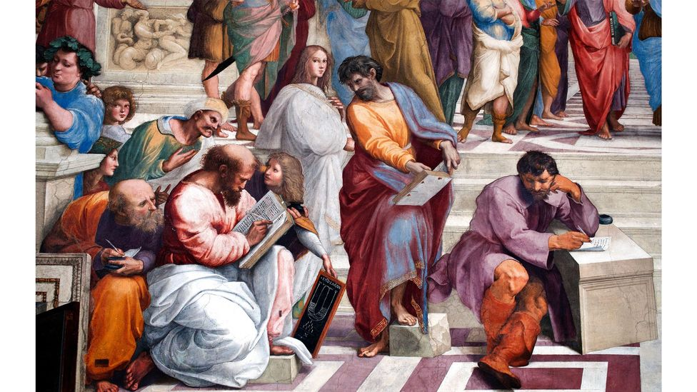 The philosopher Heraclitus (right, at desk) is featured in Raphael's masterpiece The School of Athens (Credit: Alamy)