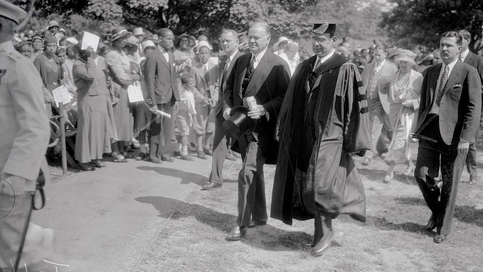 Howard University president Mordecai Johnson had ambitious plans; he is shown with US President Hoover at the university's graduation ceremony (Credit: Getty Images)