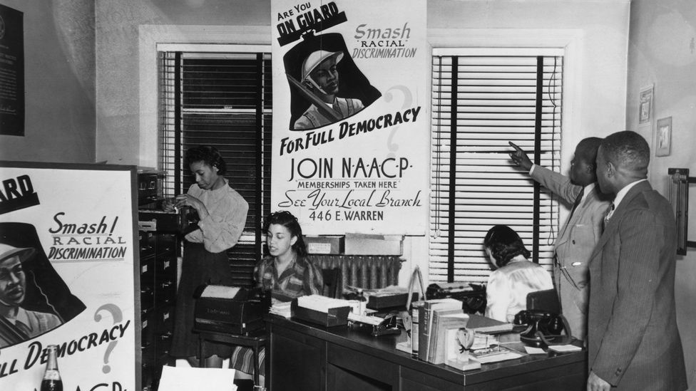 Organisers at a NAACP office in 1945; Young was elected secretary of the Durham chapter (Credit: Getty Images)
