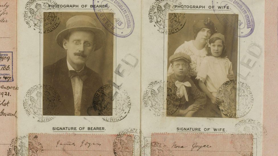 James Joyce's wartime passport, which includes a picture of his family for group travel (Credit: Alamy)