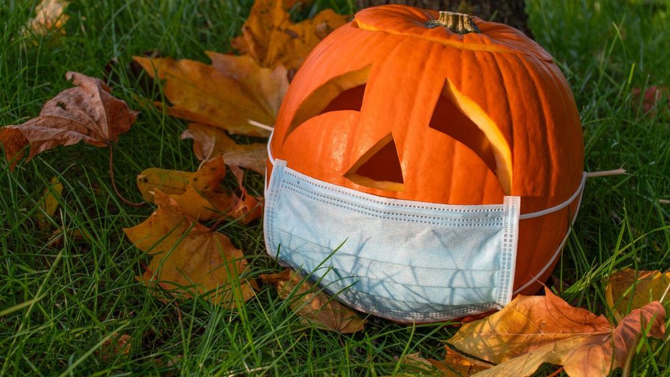 File image of a carved Halloween pumpkin in a mask