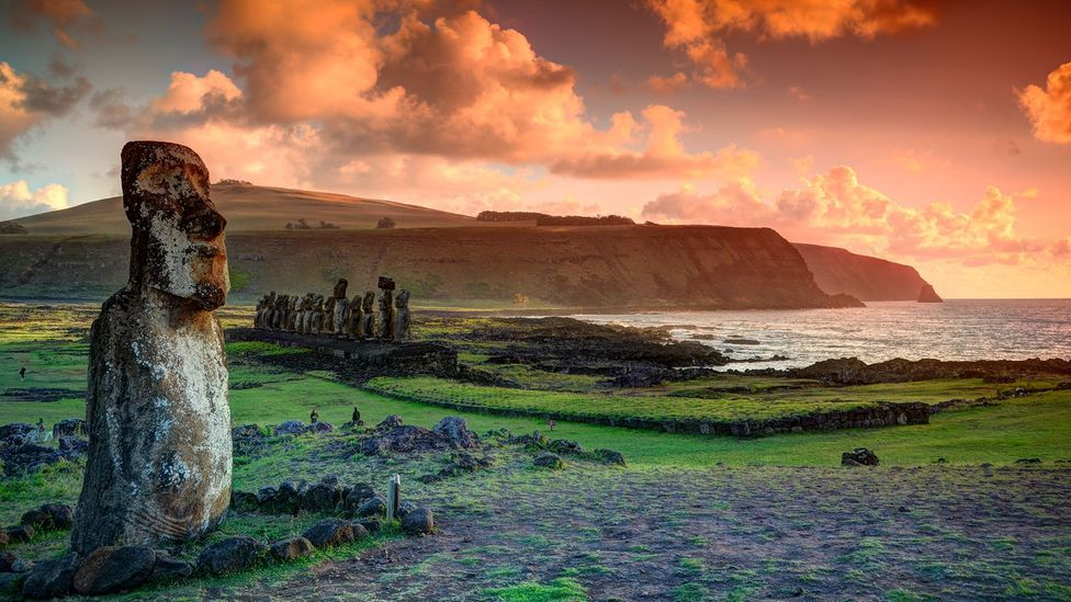 Easter Island is perhaps best known for its moai, monolithic human figures that were built by the Rapa Nui people (Credit: Marko Stavric Photography/Getty Images)