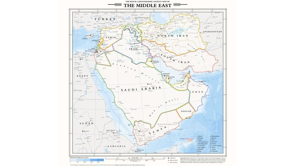"A map of the Middle East without World War Two, created in the style of the fictional ""Royal Cartographic Society"" (Credit: duke_theos)"