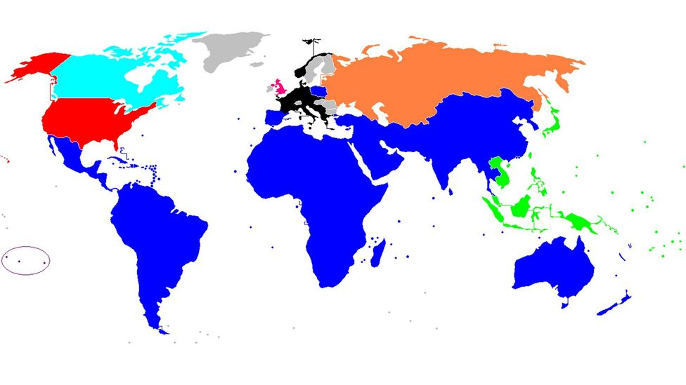 The extent of the alien conquest in Harry Turtledove's Worldwar novels, coloured in blue (Credit: Nintendoyoshi/Wikipedia)