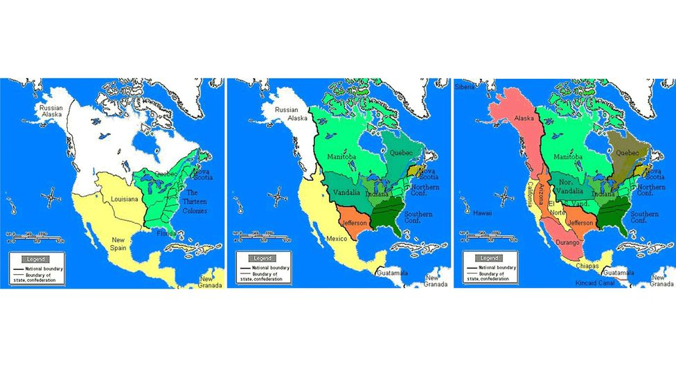 The imagined contours of North America if the US lost the American Revolution (Credit: Wikipedia Commons)