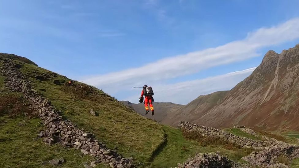 In September 2020, Richard Browning of Gravity Industries demonstrated the company's flight pack in the Lake District (Credit: GravityIndustries/YouTube/PA Wire)