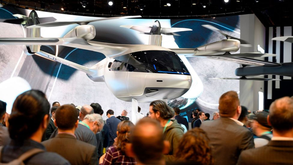 The Hyundai S-A1, which has been designed for Uber Elevate's urban air travel service, is displayed in January 2020 (Credit: Robyn Beck/Getty)