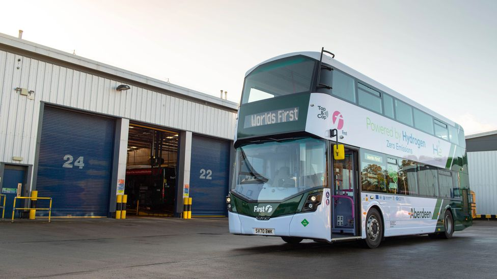 October 2020 saw the launch of the world's first double-decker hydrogen-powered bus in Aberdeen, Scotland (Credit: Getty Images)