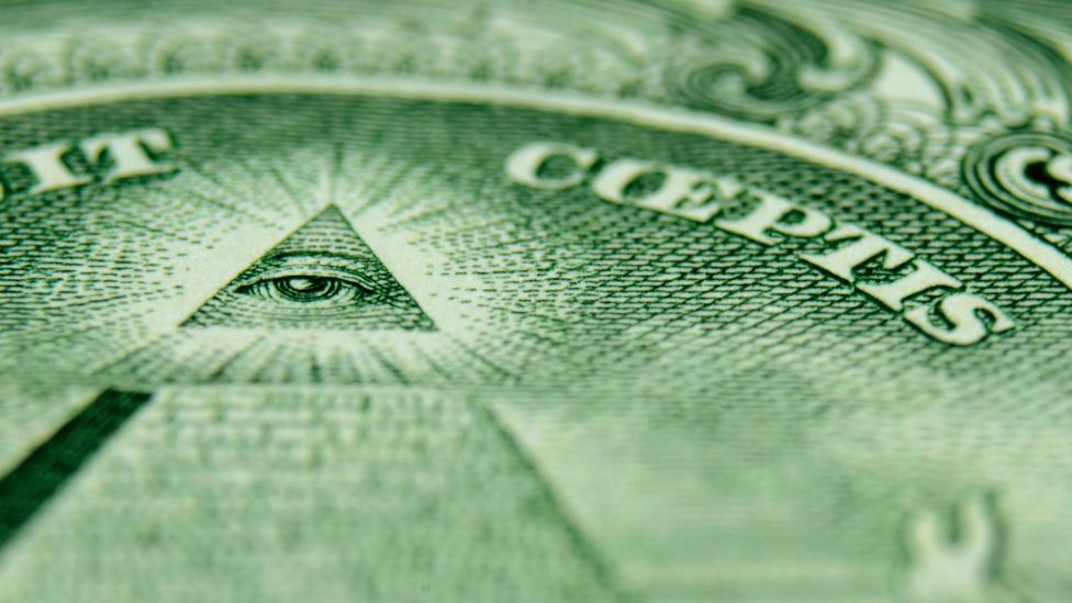 On the US $1 bill, the Eye of Providence is above a pyramid of 13 steps, symbolising the original states (Credit: Alamy)