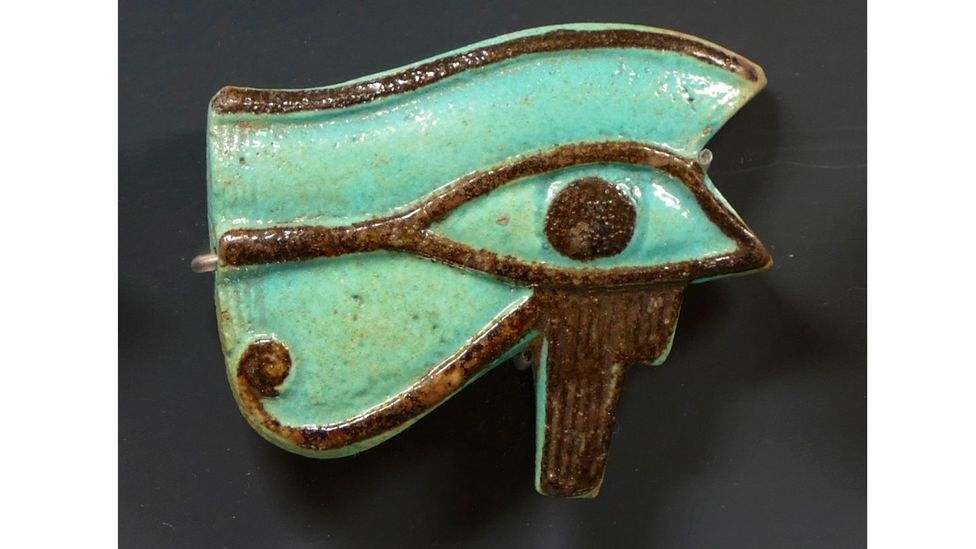 The Eye of Horus – a hybrid of a human and falcon eye – was carried as a form of protection (Credit: Alamy)