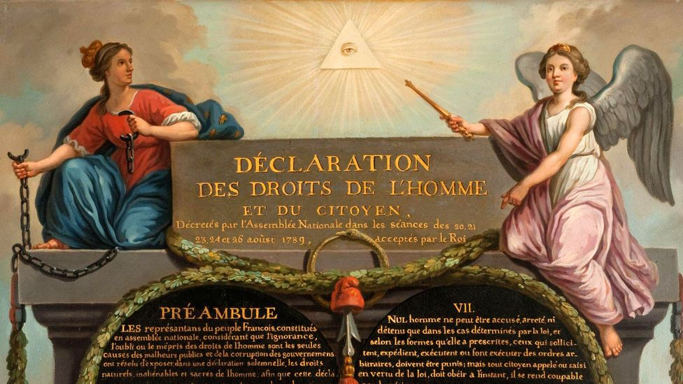 The Eye of Providence appeared at the top of Jean-Jacques-François Le Barbier's 1789 depiction of The Declaration of the Rights of Man and of the Citizen (Credit: Alamy)