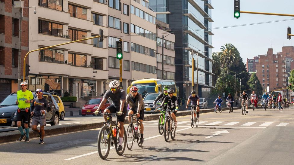 Bogota spawned a now-international movement called Ciclovía, in which 1.5 million people pedal across 128km (80 miles) of car-free streets each Sunday morning (Credit: Alamy)