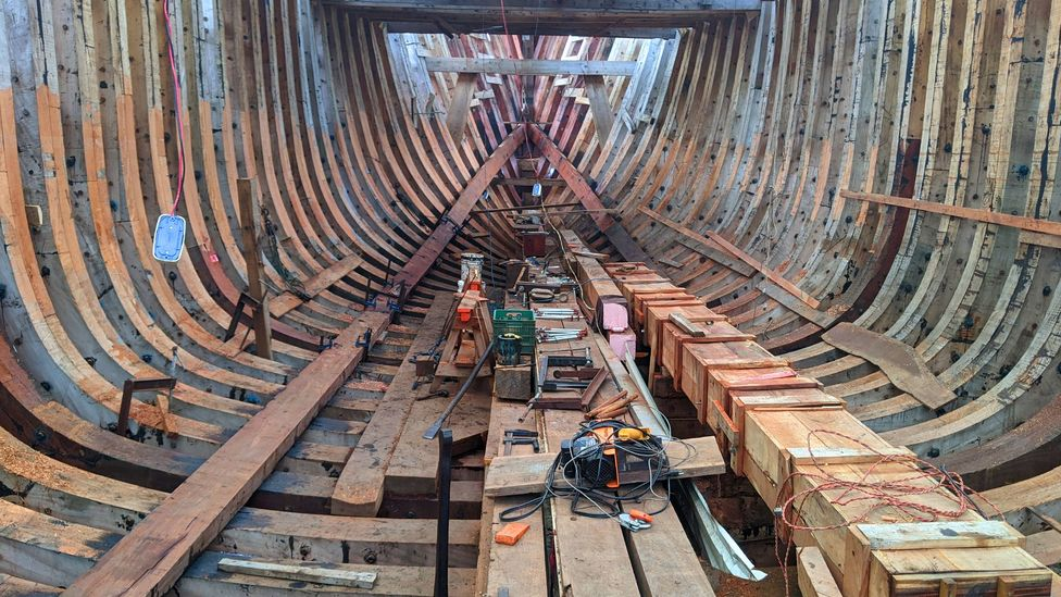 A view from the belly of the world's largest emissions-free cargo ship, under construction in Costa Rica (Credit: Jocelyn Timperley)