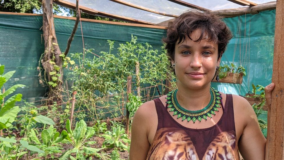 Mariel Romero Mendez, coordinator of AstilleroVerde, stands by their garden, which provides mango, avocado, tomatoes and more for the workers (Credit: Jocelyn Timperley)