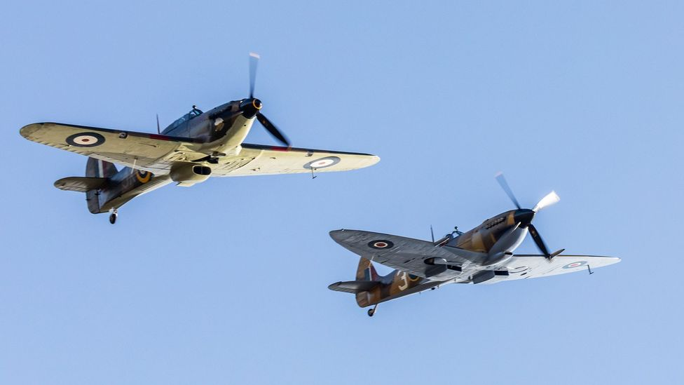 The Hurricane was largely overlooked in favour of the more graceful-looking Spitfire, seen on the right (Credit: Iwan Lewis/UK Ministry of Defence/Getty Images)