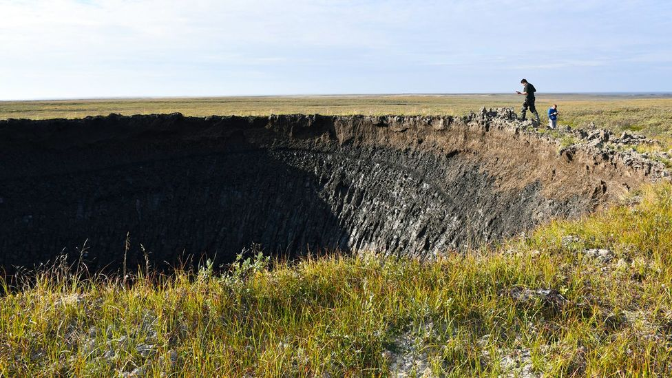 Scientists at the Russian Academy of Sciences' Institute of Oil and Gas Problems visited the newest crater during an expedition to Yamal in August 2020 (Credit: Evgeny Chuvilin)