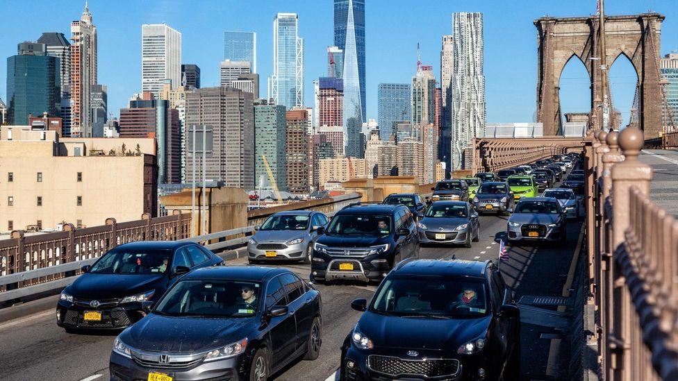 File image of heavy traffic on the Brooklyn Bridge