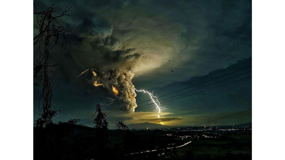 A lightning strike over the province of Batangas during the eruption of the Taal volcano in Philippines, January 2020 (Credit: Domcar C Lagto/Pacific Press via Alamy)