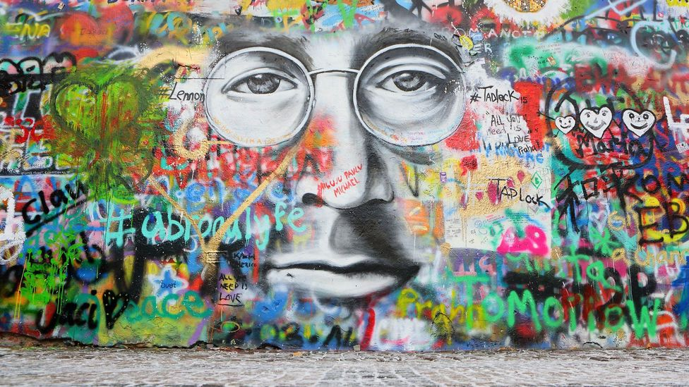 In Prague, a wall devoted to John Lennon is a major tourist attraction (Credit: Alamy)