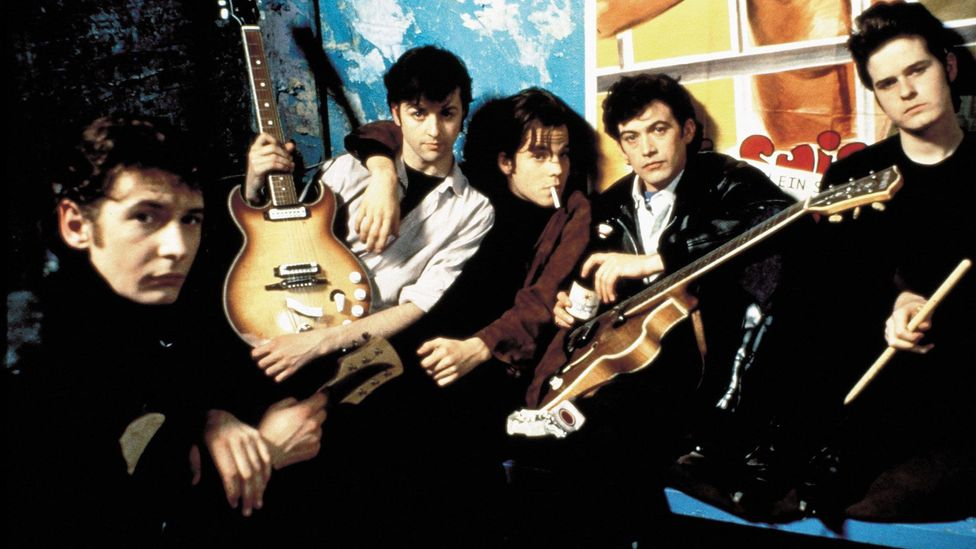 The 1994 film Backbeat focused on the relationship between John Lennon (Ian Hart, front left) and 'fifth Beatle' Stuart Sutcliffe (Credit: Alamy)