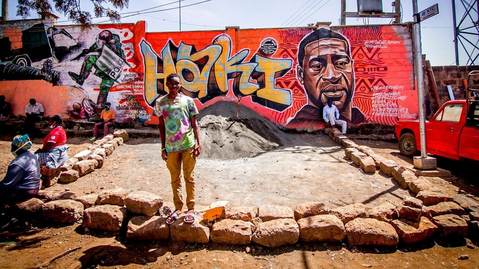 A mural in Nairobi, Kenya, by Mr Detail Seven depicts George Floyd (Credit: Donwilson Odhiambo/ Getty Images)