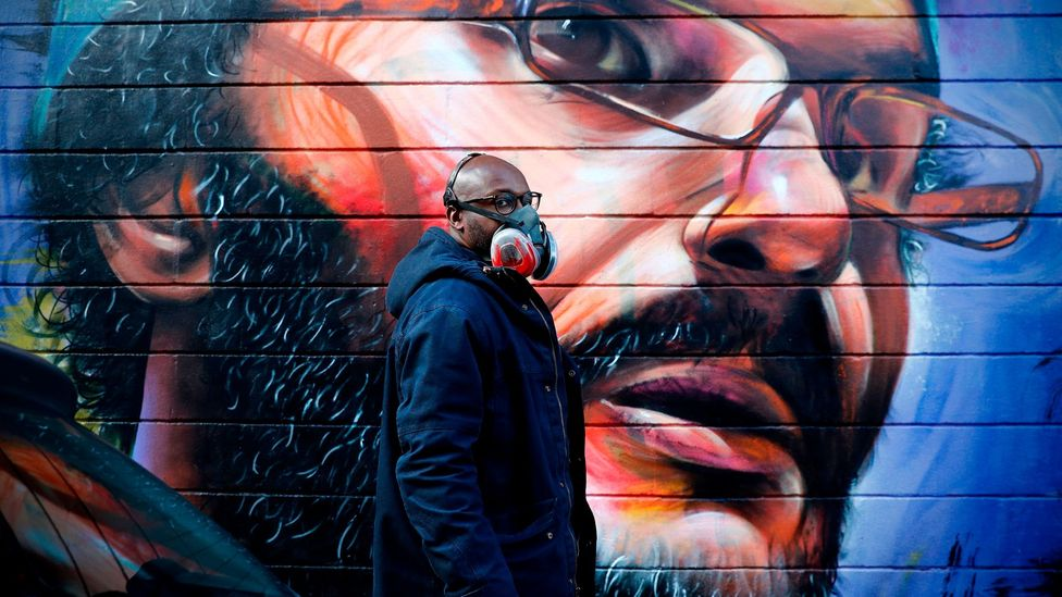 British-Ghanaian artist Dreph creates largescale, celebratory street murals (Credit: Adrian Dennis/ AFP via Getty Images)