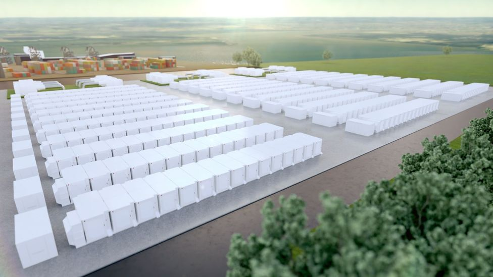 An artist's impression of what is set to become the UK's largest battery storage facility, with 320 megawatt capacity (Credit: InterGen)