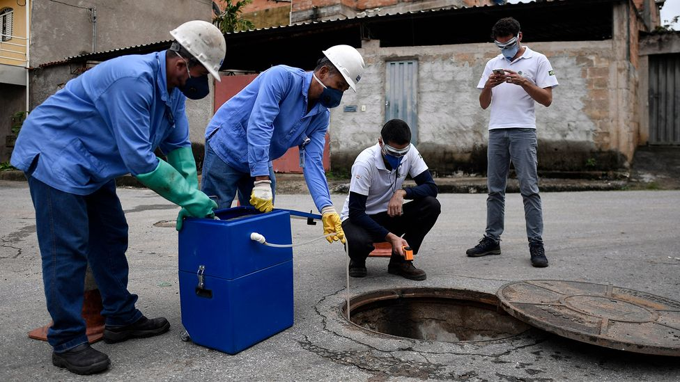 Efforts to spot new variants of Covid-19 as early as possible include testing sewage samples in cities like Belo Horizonte in Brazil (Credit: Douglas Magno/Getty Images)