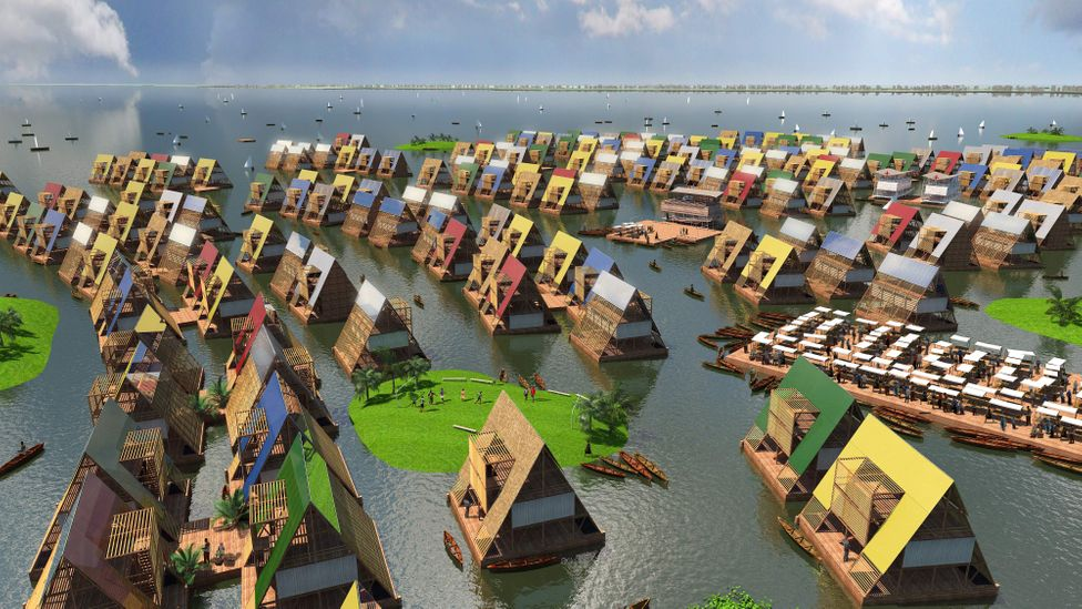 An artist's impression of coastal communities based in floating architecture, to allow them to become more resilient to climate change (Credit: NLE)