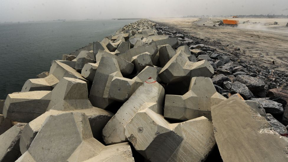 """The """"Great Wall of Lagos"""" is intended to reinforce the coast and protect it from erosion (Credit: Getty Images)"""