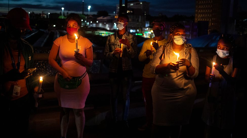 A memorial for victims of coronavirus in South Africa (Credit: Kim Ludbrook/Getty Images)
