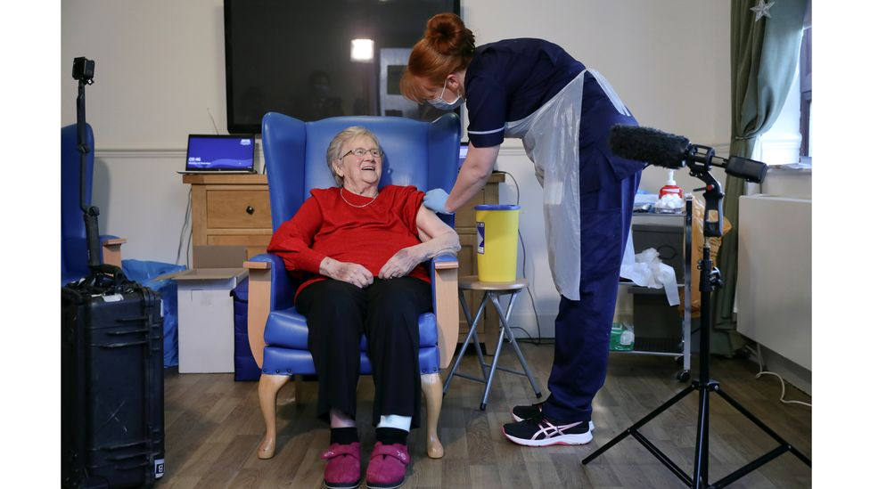 As more people are vaccinated, scientists expect to see fewer people testing positive for Covid-19 in care homes (Credit: Russell Cheyne/ Reuters)