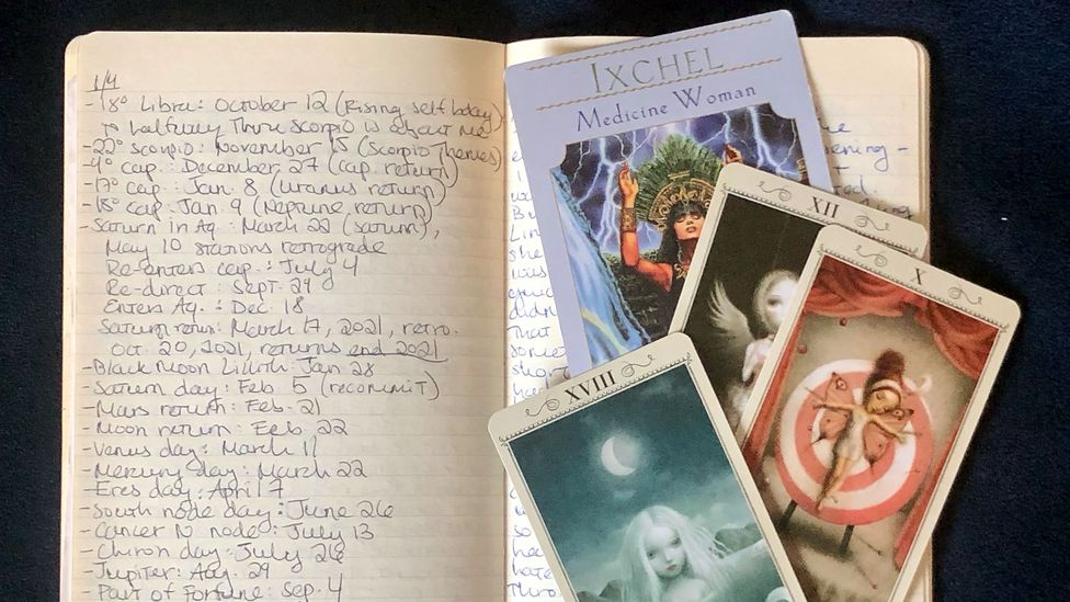 Caroline Goldstein's journal of notes from an astrology reading with astrologer and Tarot reader Jeff Hinshaw (Credit: Caroline Goldstein)