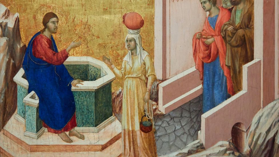 There are many depictions in art of people at wells, such as Christ and the Samaritan Woman (1310-11) by Duccio di Buoninsegna (Credit: Alamy)