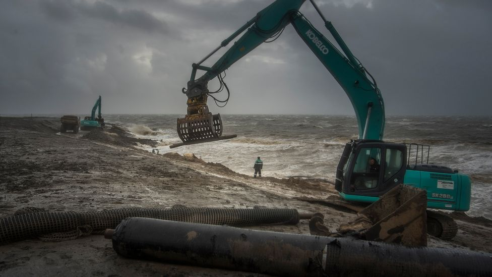 Despite the protection from the Halligen, coastal defences still need to be strengthened on the mainland as climate change brings rising seas (Credit: Oliver Franke:LKN.SH)