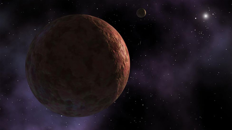 The dwarf planet Sedna has an unconventional orbit which might be explained by the gravitational pull of a massive undiscovered planet (Credit: Nasa/ JPL-Caltech)