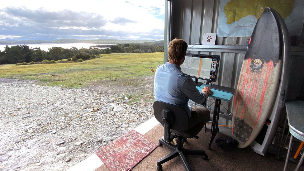 On Bruny Island in Tasmania, Chris Scott loves his work-from-home set-up, which he says enables him to focus and genuinely switch off when he needs a break (Credit: Chris Scott)