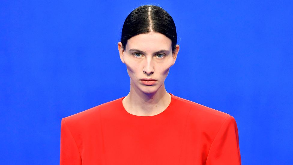 Balenciaga's spring/summer 2020 collection show at Paris Fashion Week saw models sporting sculpted faces (Credit: Getty Images)