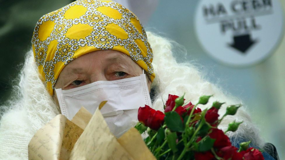 Pelageya Poyarkova, from Moscow, Russia, turned 100 last year and is one of a few very elderly people to have contracted Covid-19 and recovered (Credit: Valery Sharifulin/Alamy)