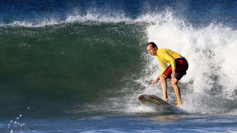 Tom Vanderbilt surfing