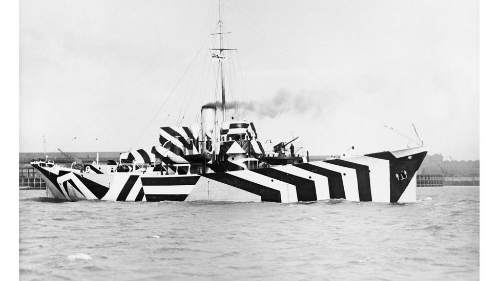 Gunboat HMS Kildangan in dazzle camouflage, 1918 (Credit: Imperial War Museums via Getty Images)