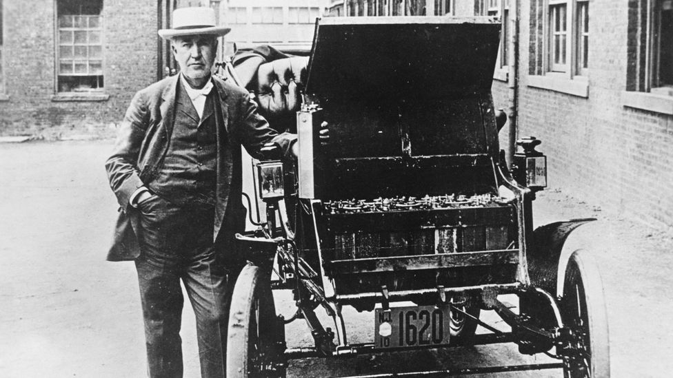 Thomas Edison was the proud owner of an electric car, complete with his own patented nickel-iron battery (Credit: Getty Images)