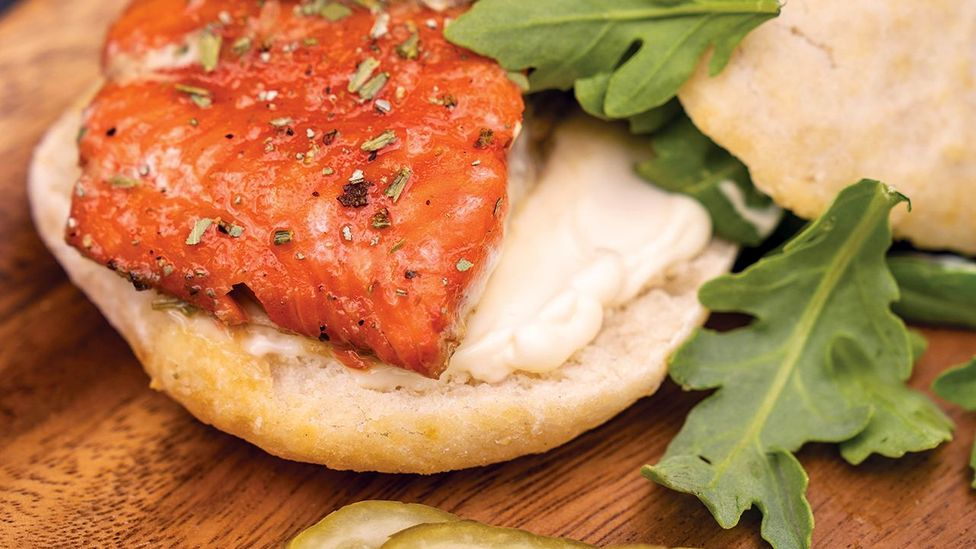 Inez Cook's sage-smoked salmon burger incorporates key elements of First Nations culture all in one dish (Credit: Scott Yavis)