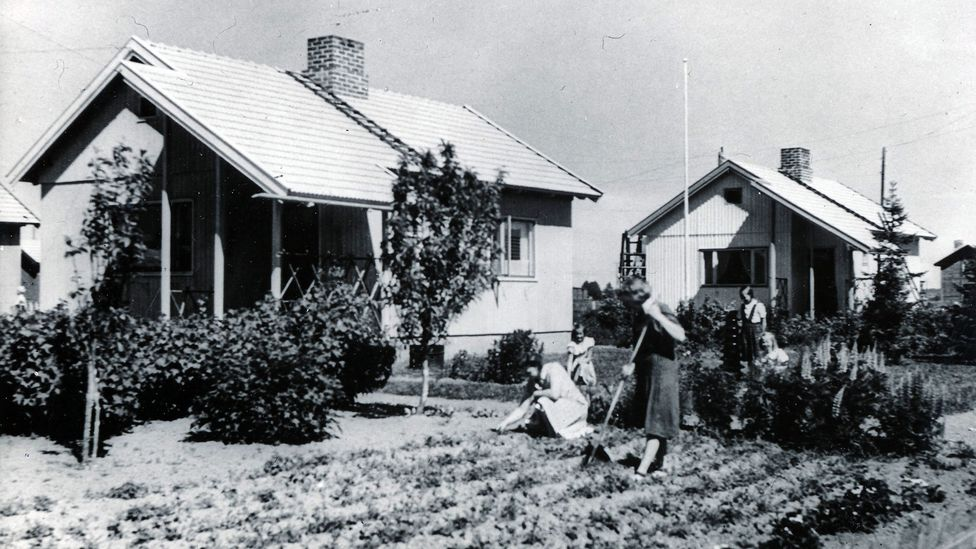 Puutalo houses in Nekala, Finland in the 1940s – the homes were in demand across the world (Credit: Elka Archive)